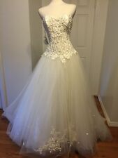 NWT Matthew Christopher Corset Sweetheart Ball Gown White Wedding Dress Sz 8