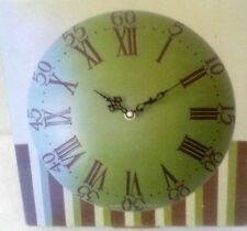 Wand Uhr rund grün gewölbt  Antik Deko Mobiliar Vintage Art Deco Stil Geschenk