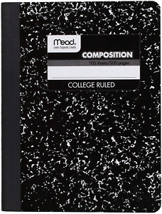 Mead Composition Book/Notebook, College Ruled Paper, 100 Sheets (09932), New!