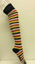 OVER THE KNEE HIGH SOCKS YELLOW RED WHITE NAVY STRIPEY WARM WOMAN GIRL
