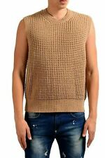 Dsquared2 Men's 100% Wool Brown Crewneck Heavy Knitted Vest US M IT 50