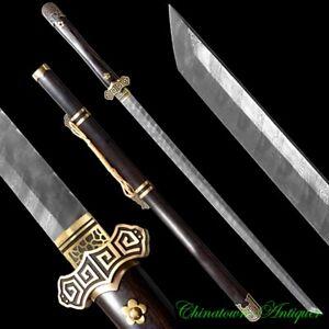 WuJi TangDao Sabre Battle Sword Ladder Pattern Damascus Steel Blade Sharp #2853