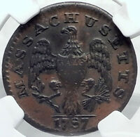 1787 MASSACHUSETTS US Post Colonial Pre Federal Half Cent Coin INDIAN NGC i82202