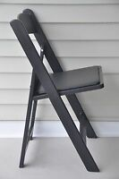 4 Commercial Folding Chairs Black Resin Party Event Dining Chair w/Padded Seat