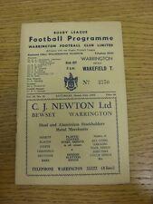 30/03/1963 programma Rugby League: Warrington V Wakefield Trinity. bobfrankandel
