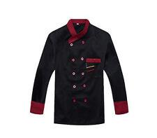 Long Sleeve Kitchen Cook Working Uniform Chef Waiter Waitress Coat Jacket Black