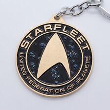 Star Trek Logo Round Keyring Keychain Shiny Gold Color