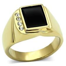 Para hombres Oro Sobre Acero Inoxidable Genuino Negro Onyx 10.8 mm Anillo de piedra. Estampado.