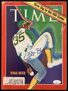 Vida Blue Signed Time Magazine 8/23/71 Oakland Athletics WSC Autograph MVP JSA