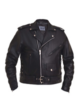 12.00 Unik Men's Classic Police Style Motorcycle Biker Leather Jacket