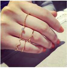 Super Fashion 5 Pcs in 1 Set Cubic Zirconia Party Gold Simple Ring