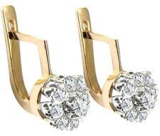 14K Solid Yellow and White Gold  Russian Style Malinka Diamond Earrings 585
