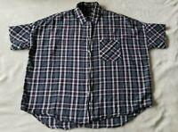 Madewell Women's Blue Plaid Shirt Top Size Medium Short Sleeve Front Pocket