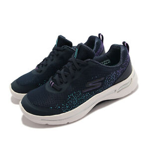Skechers Go Walk Arch Fit-Flying Stars Navy White Women Casual Shoes 124486-NVLV