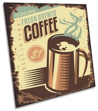 Fresh Coffee Kitchen Café Framed CANVAS PRINT Square Wall Art