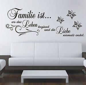 Wandtattoo Spruch , Familie wo Leben Liebe Wandsticker Wandaufkleber Sticker 5