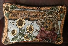 """Vintage Boyds Bears Pillow """"Ain't Life Sweet"""" With Sunflowers 12"""" x 9"""""""