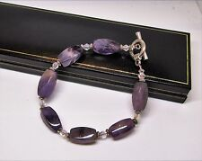 Real purple amethyst natural gem stone crystal ladies bracelet in black gift box