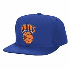 NEW Mitchell & Ness NBA New York Knicks Blue Wool Solid Snapback Adjustable Hat