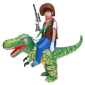 Kids Child Unisex T Rex Dinosaur Inflatable Costume Cowboy Ride Dino 3D Print