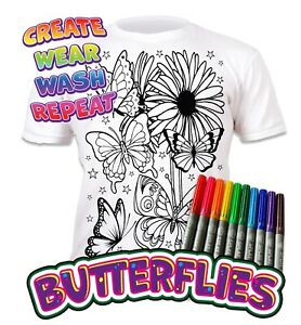 Splat Planet Colour-in Butterflies T-Shirt 10 Magic Pens-Colour-in and Wash Out