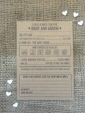 10 Brown kraft Wedding advice, trivia, wishes cards favour, table decoration