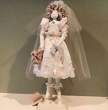 White Handmade Cloth Bride Doll on Wooden Stand