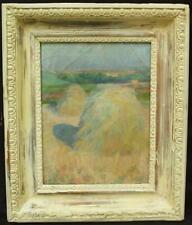 19th CENTURY PLEIN AIR FRENCH IMPRESSIONIST CORN STOOKS Antique Oil Painting