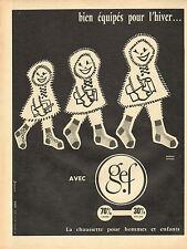 Publicité Advertising 1957  Gef la chaussette pour hommes et enfants lingerie
