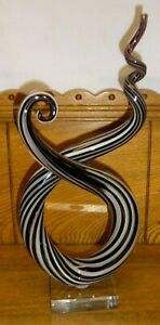"Black & White Murano Art Glass Abstract Statue - A Couple Nicks - 12 5/8"""