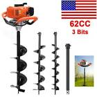 62CC 2.8HP Gas Powered Post Hole Digger W. 3' 5' 8' Earth Auger Digging Engine