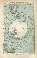 1895 SOUTH POLE ANTARCTICA RESEARCH EXPLORER SCIENTIFIC EXPEDITIONS Antique Map