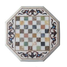 "12"" Marble Chess Table Top Inlay Marquetry Living Home Decor"