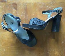 SO 6.5M Black Sandals Heels Open Peep Toe Beaded Strappy Chunky Heels