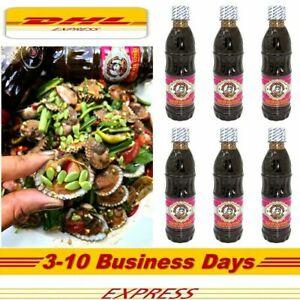 6 X Thai Nangfah Plara Fermented Pickled Fish Sauce for Papaya Salad SOM TUM