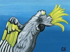 ACEO ATC Original Miniature Painting Sulphur Cockatoo Parrot Bird Art-C. Smale
