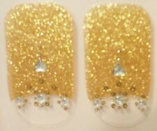 KISS Nail Dress Holiday GOLD SHIMMER W/ JEWELS Strips/Appliques/Decals #57887