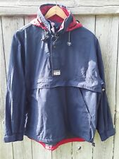 VTG 1990s Ralph Lauren Chaps Blue Red Windbreaker Jacket Hooded Pullover Medium