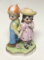 ADORABLE!! Vintage Lefton China Hand Painted Little Girl and Boy Figurines 494