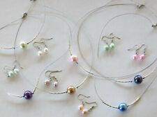 Halskette Ohrringe Ohrhänger Perlenkette mit Kunstperle Farbe aussuchen NEU