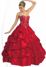 Red Quinceanera Ball Gown Dress Party Prom Evening Cocktail Pageant Sz 20 NEW