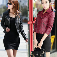 Women Ladies Leather Jacket Coats Zip Up Biker Flight Casual Top Coat Outwear