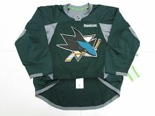 SAN JOSE SHARKS AUTHENTIC GREEN REEBOK EDGE PRACTICE HOCKEY JERSEY SIZE 54