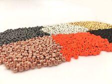 100 Round Tungsten Beads Copper Black Gold Silver Orange 7 Sizes 6 Colors