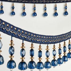 1M Perlen Vorhang Fransen Spitze Band Kristall Anhänger Quaste Polster Rand Deko