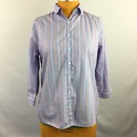 Lands End Womens Top Button Up Supima Cotton 3/4 Sleeve No Iron Blue Size 8