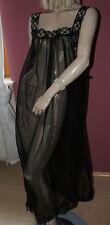 Feinstes transparentes Nylon Chiffon Negligee Nachtkleid Spitze schwarz feinL/XL