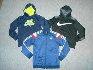 3 NIKE & ADIDAS YOUTH BOYS LARGE THERMAL HOODIES & TRACK JACKET LOT           A3