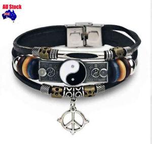 Multi Layer Classic YinYang Tai Ji Style Vintage Mens Dads Bracelet wrist band
