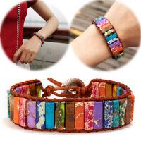 7 Chakra Bracelet Women Handmade Tube Natural Stone Leather Wrap Bangle Jewelry
